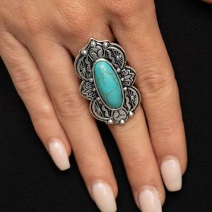 Paparazzi Lotus oasis blue turquoise Ring.